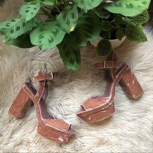 Zara Pink Crushed Velvet Platform Heels